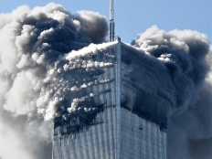 North Tower ablaze