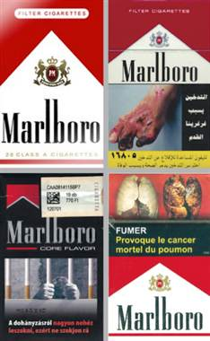 Marlboro, the world's top-selling brand, packaged under labeling laws of (clockwise) the U.S., Egypt, Djibouti, Hungary/Photos of non-U.S. packs, Canadian Cancer Society