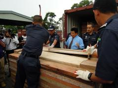 Peel another layer off! Smugglers went to great lengths to hide the 1,500 pieces of Elephant tusks they were transporting from Togo to China via Malaysia.