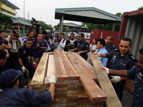 Remove the top.... Smugglers went to great lengths to hide the 1,500 pieces of Elephant tusks they were transporting from Togo to China via Malaysia. But they got caught! Thanks to the Royal Malaysian Customs.