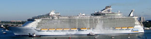 Biggest passenger ship, carrying 8,072 people. Launched 2009. Sister ship of Allure of the Seas (Size - 362mx65m)