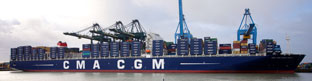 Largest container ship now afloat at 16,020 TEU - 1,980 TEU less than the Triple E. Launched November 2012 (Size 396mx54m)