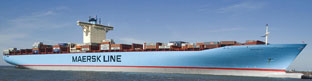 Longest ship now on the sea - 3m shorter than Triple E. The first of eight, Emma Maersk, was launched in 2006.(Size -397mx56m)