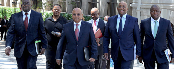Minister Pravin Gordhan and his 'budget team' on their way to parliment [Picture credit-SARS]