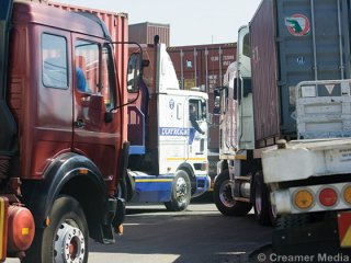 Trucks at Transnet Freight Rail's City Deep Terminal (Engineering News)