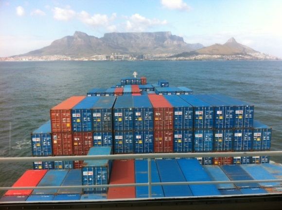 Container vessel outside the Port of Cape Town