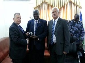 Capacity Building visit to South Sudan - SARS' representative Fanie Versveld (right).