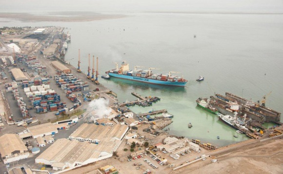 An aerial view of the port of Walvis Bay. NamPort is seeking a green light from Cabinet to spend over N$3 billion on the expansion of the harbour (Namibian Sun)