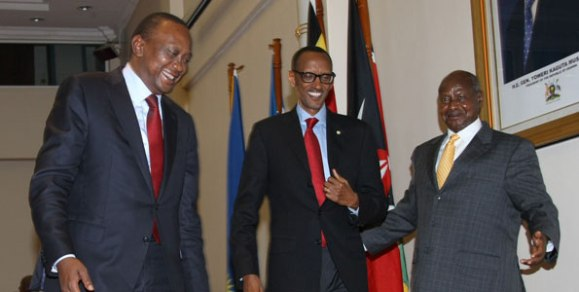 Presidents Uhuru Kenyatta (Kenya), Paul Kagame (Rwanda) and Yoweri Museveni after the trilateral talks in Entebbe, Uganda. President Jakaya Kikwete of Tanzania and Pierre Nkurunziza of Burundi stayed out of the loop of the third infrastructure summit in Kigali, Rwanda on Monday. [Photo/PPS]