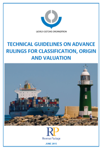 WCO - Technical Guidelines on Advance Rulings for Classification, Origin and Valuation